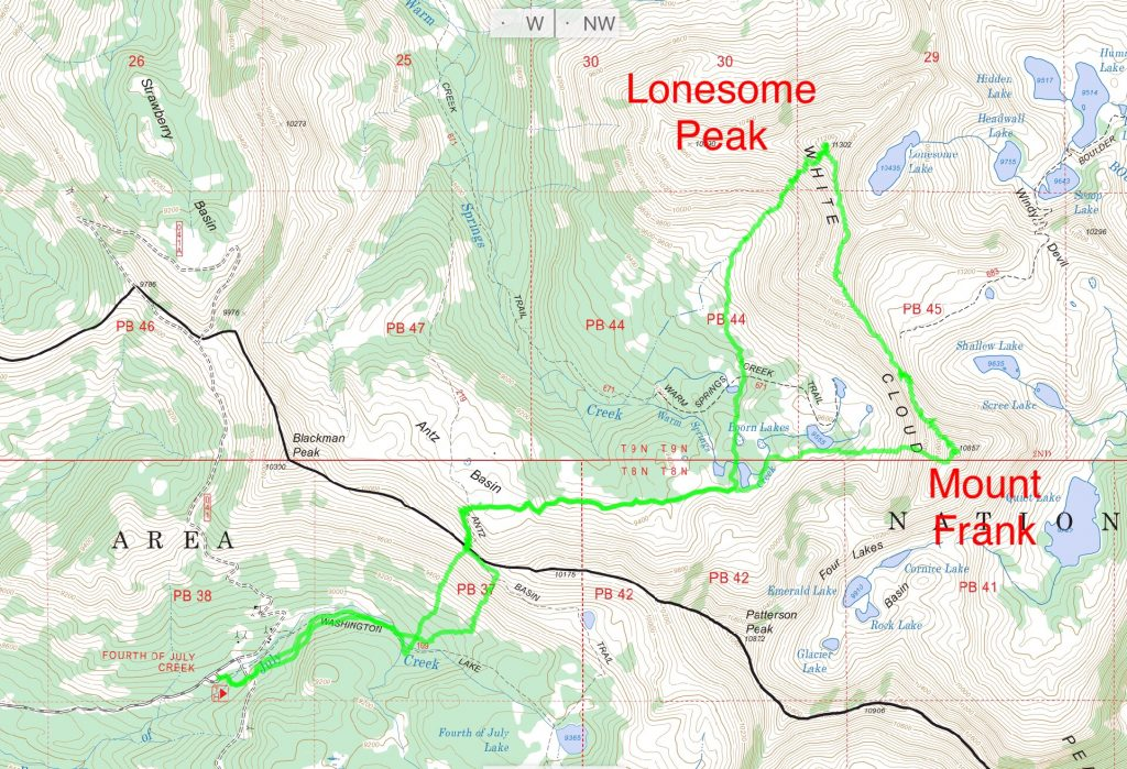 Derek's GPS Track for Lonesome Peak amd Mount Frank. This trek clocked in at 12.4 miles with over 10,000 feet of gain.