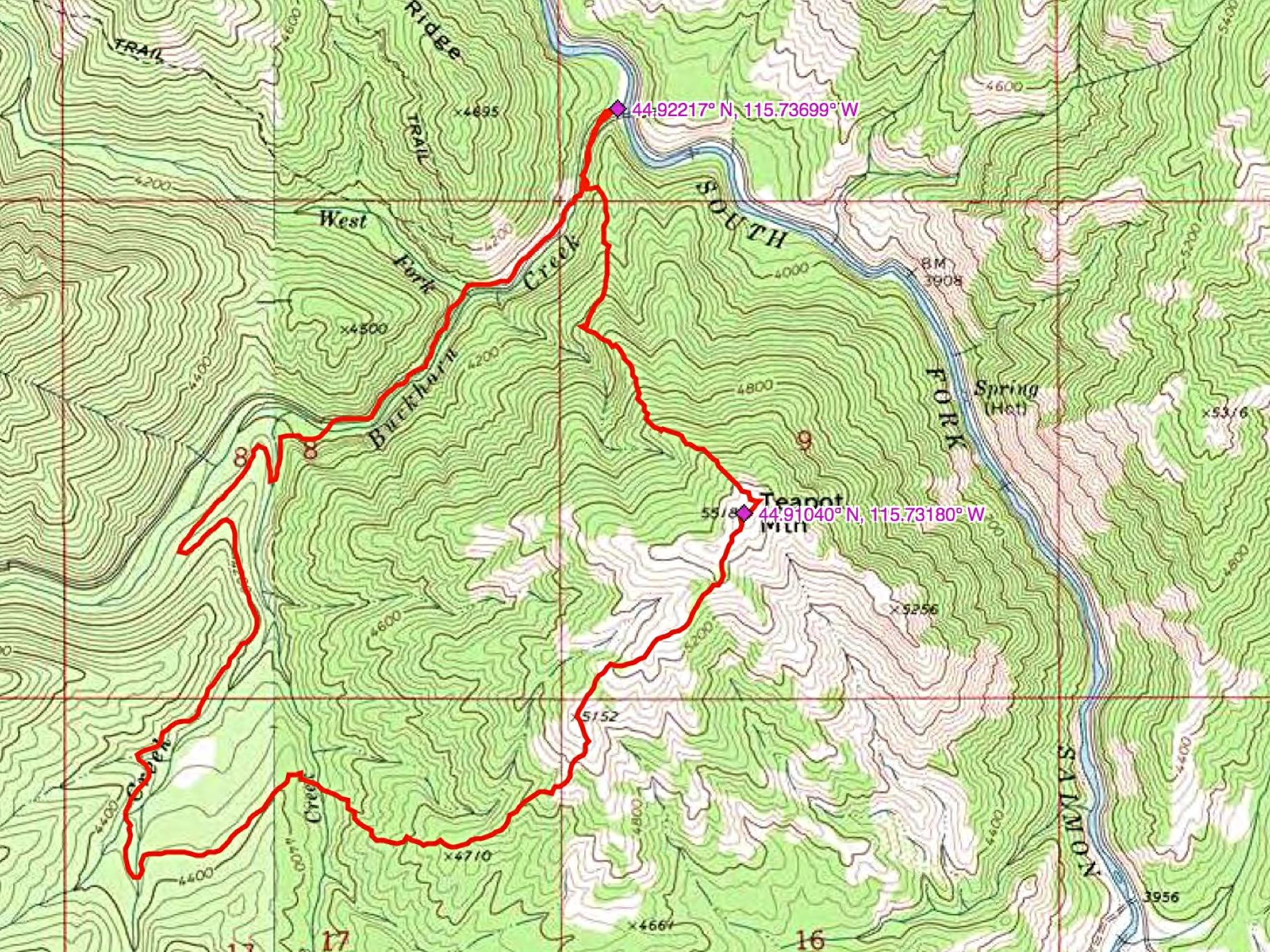 John Platt's GPS track for his Teapot Mountain excursion.