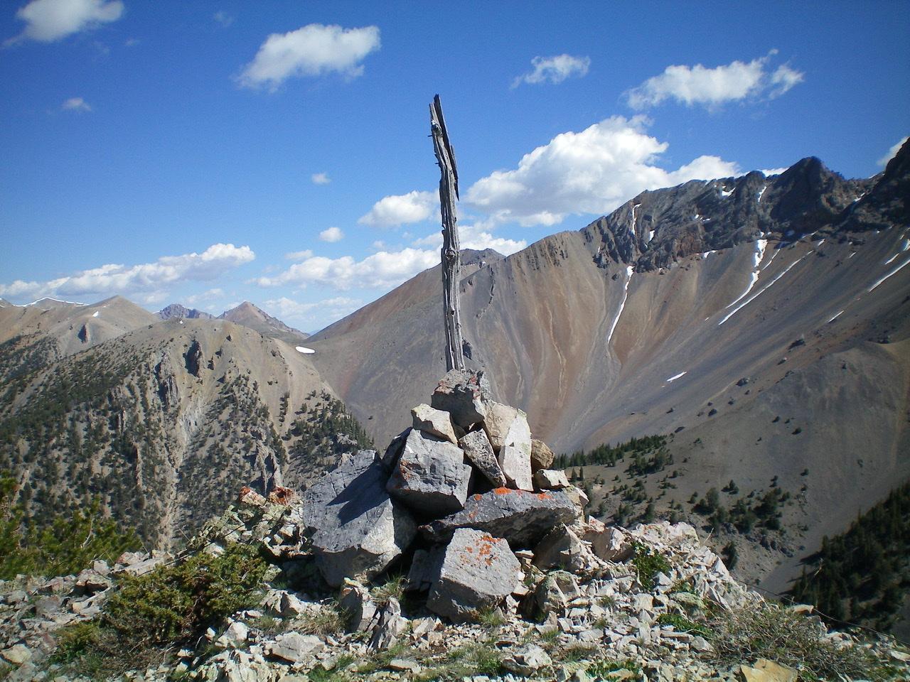 The summit cairn atop Peak 10104. Livingston Douglas Photo