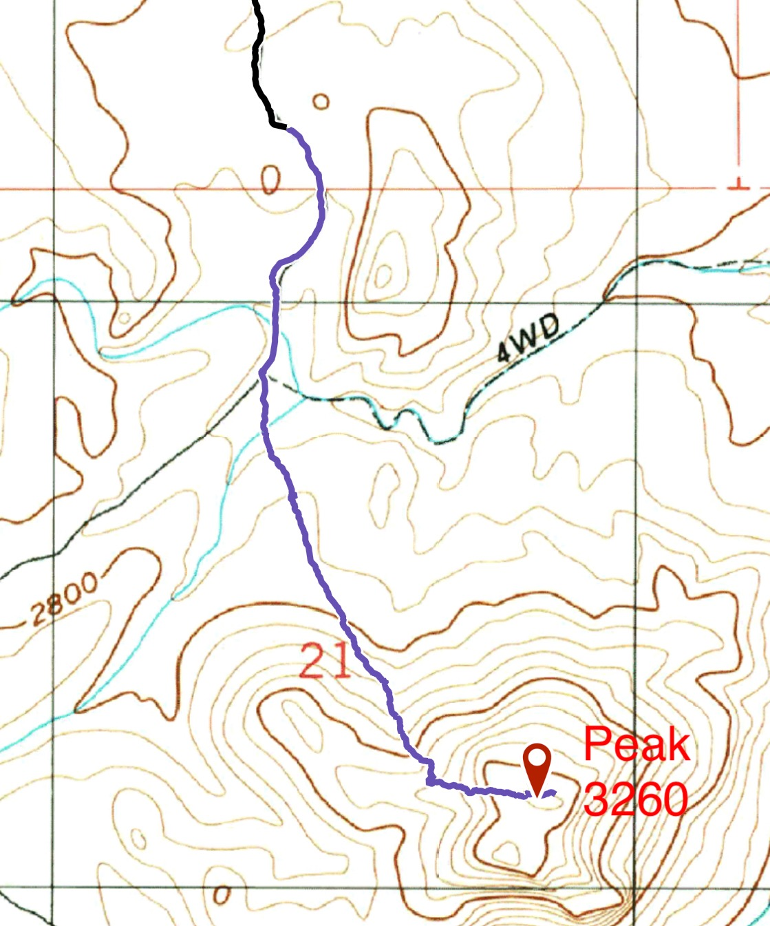 We parked about a mile from the summit to make the walk a little longer. The blue line is our ascent line. Two miles round trip with 506 feet of ascent.