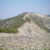 Goldstone North as viewed from the south on the Continental Divide. The summit hump is the small, darkish mound in dead center. Livingston Douglas Photo