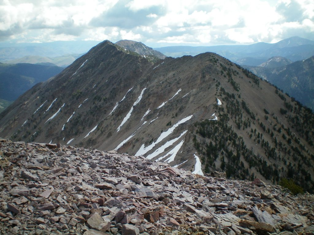 Peak 10310 (left of center) and Point 10245 (right of center) as viewed from the summit of Peak 10349. Livingston Douglas Photo