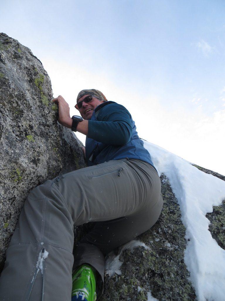 John Platt climbing the jam crack in the winter of 2017.