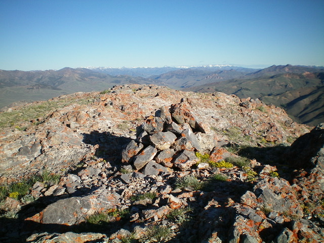 The summit of Peak 9863, looking northwest on an early June morning. Livingston Douglas Photo