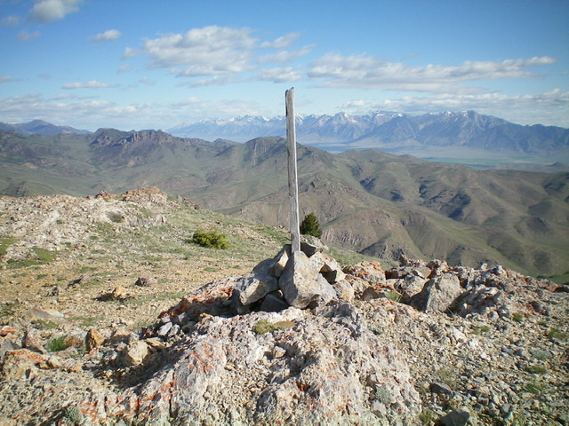 The newly-built summit cairn atop Appendicitis Hill. Livingston Douglas Photo