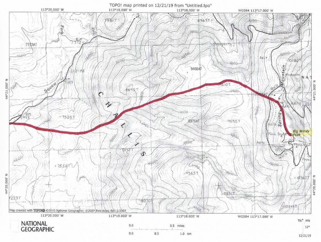The West Ridge Ascent Route.