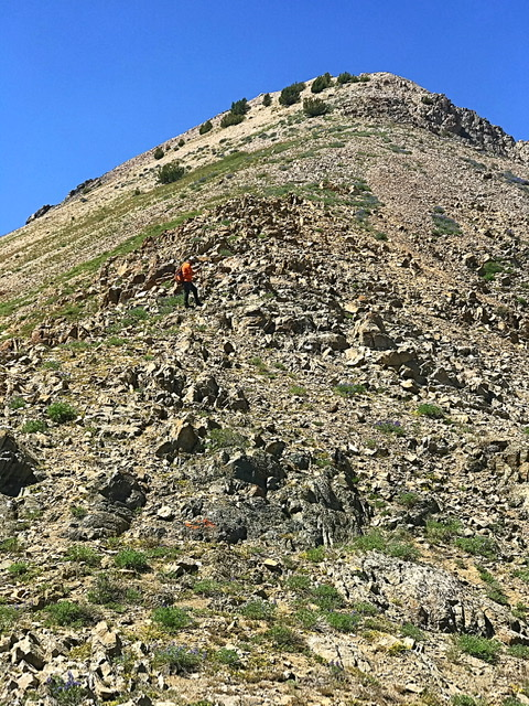 The east ridge is steep but obstacle free.