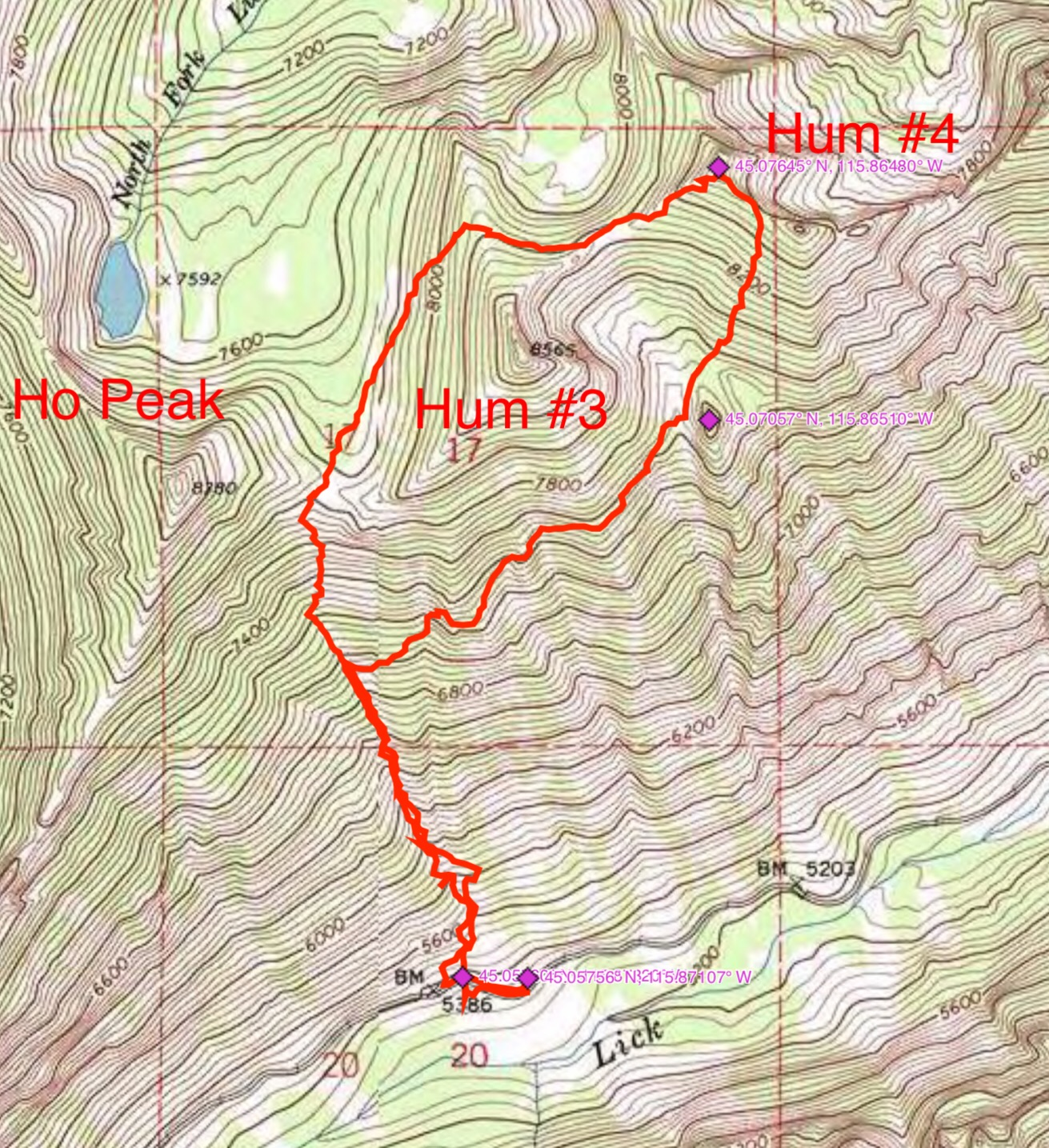 John Platt's GPS track for the Hum #4 first ascent.