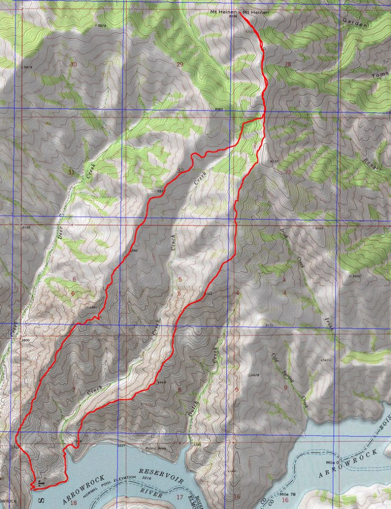 John Platt's route map. We ascended the ridge west of Cinch Creek and descended the ridge on the east side.