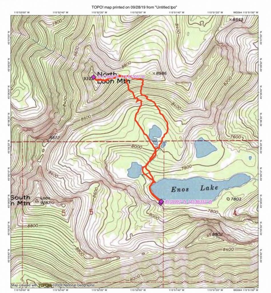 John Platt's GPS track for his ascent of North Loon Mountain's East Ridge.