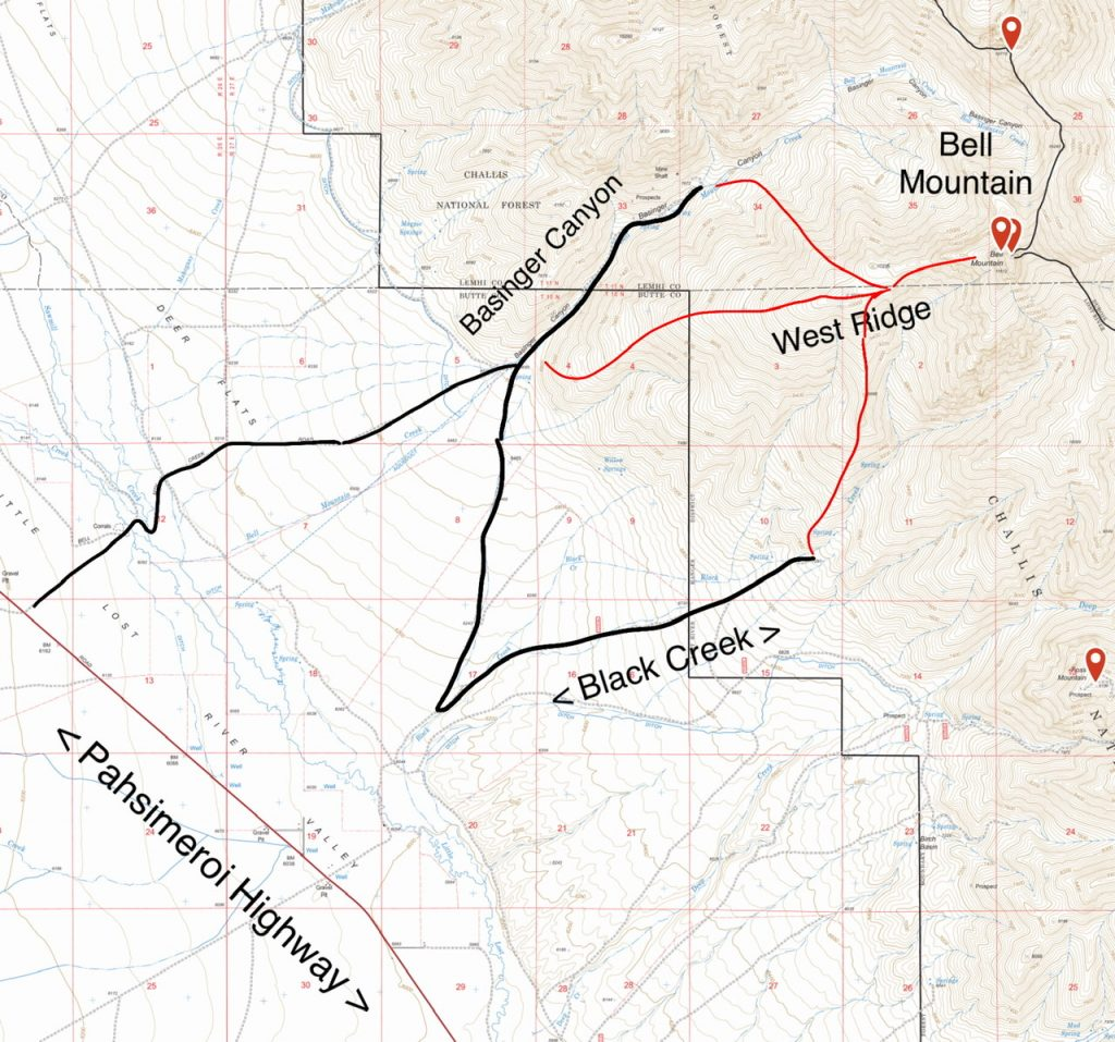 The Little Lost River Valley bottom lands between the Pahsimeroi Highway and the alluvial fans leading up to Bell Mountain are mostly private. As a result, the there is no direct access from the highway to Black Creek.