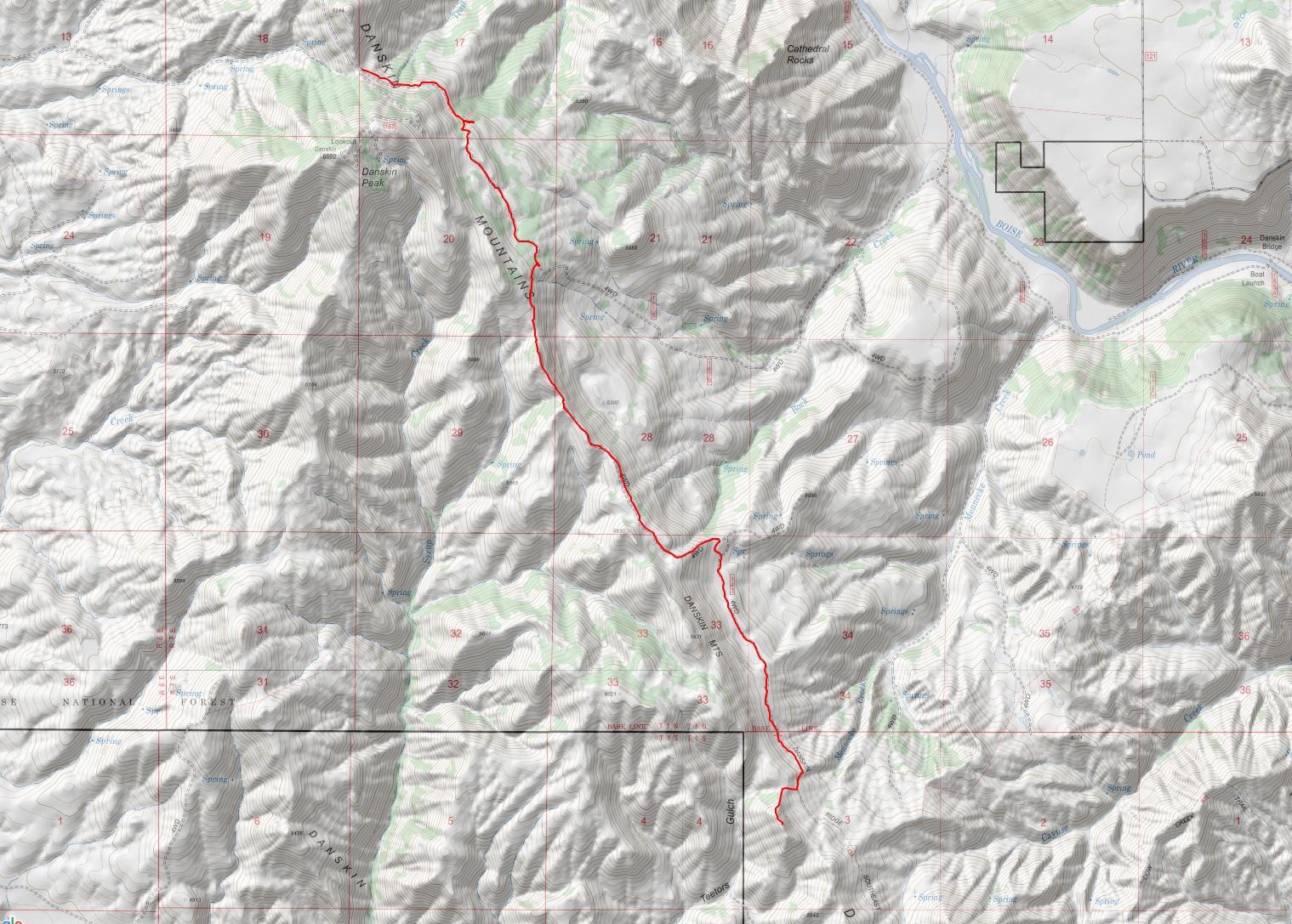 DANSKIN SOUTHEAST RIDGE TRAIL#143A01 GPS Track.