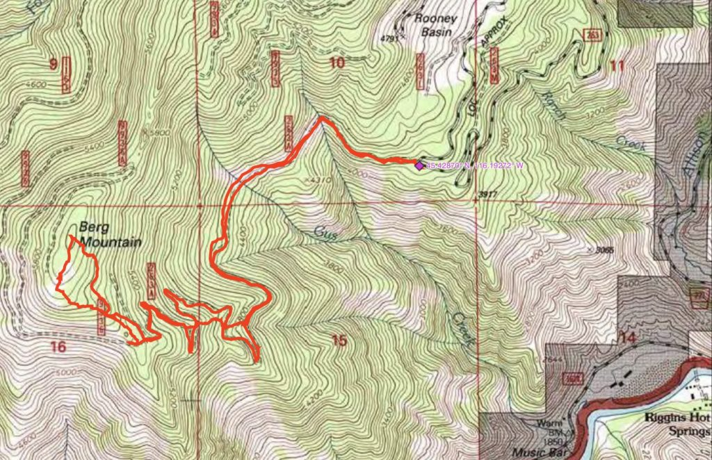 John Platt's GPS track. His route covered 6.6 miles with 1800 feet of gain round trip.