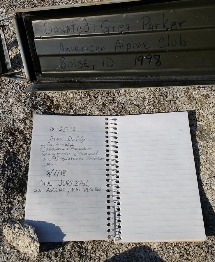 The register left by Greg Parker. Paul Jurczak Photo