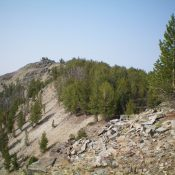 Looking up the northeast ridge of Peak 9580. The summit is just left of center. Livingston Douglas Photo