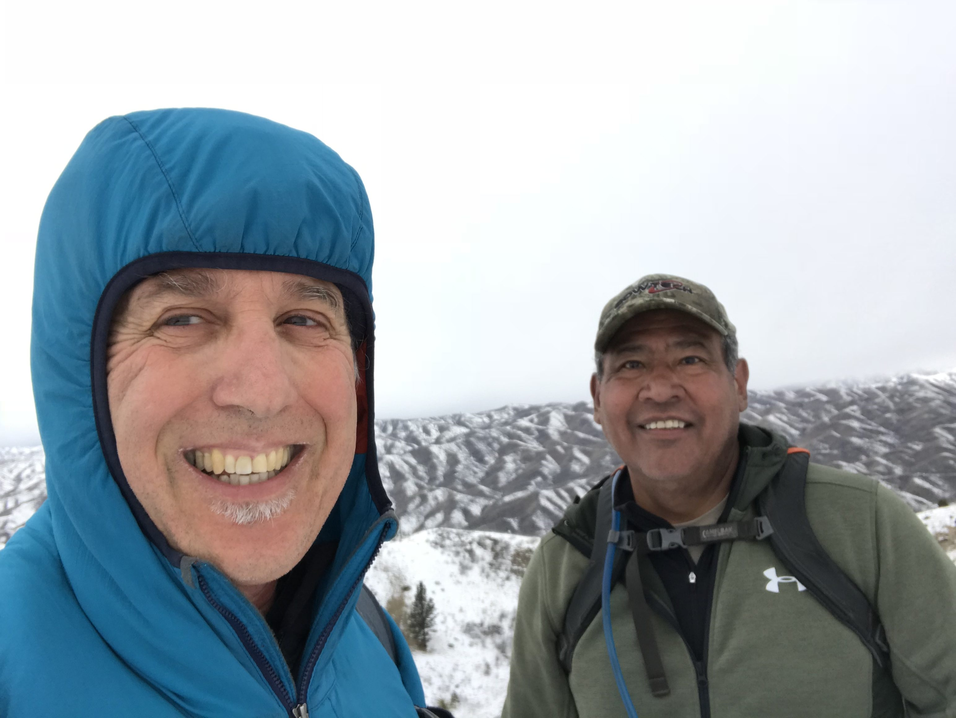 On the summit during a winter climb. Conditions can vary greatly from winter to winter. We encountered a fresh skiff of snow. A week earlier the ridge was bare. Some winters you m ind deep snow and avalanche conditions.