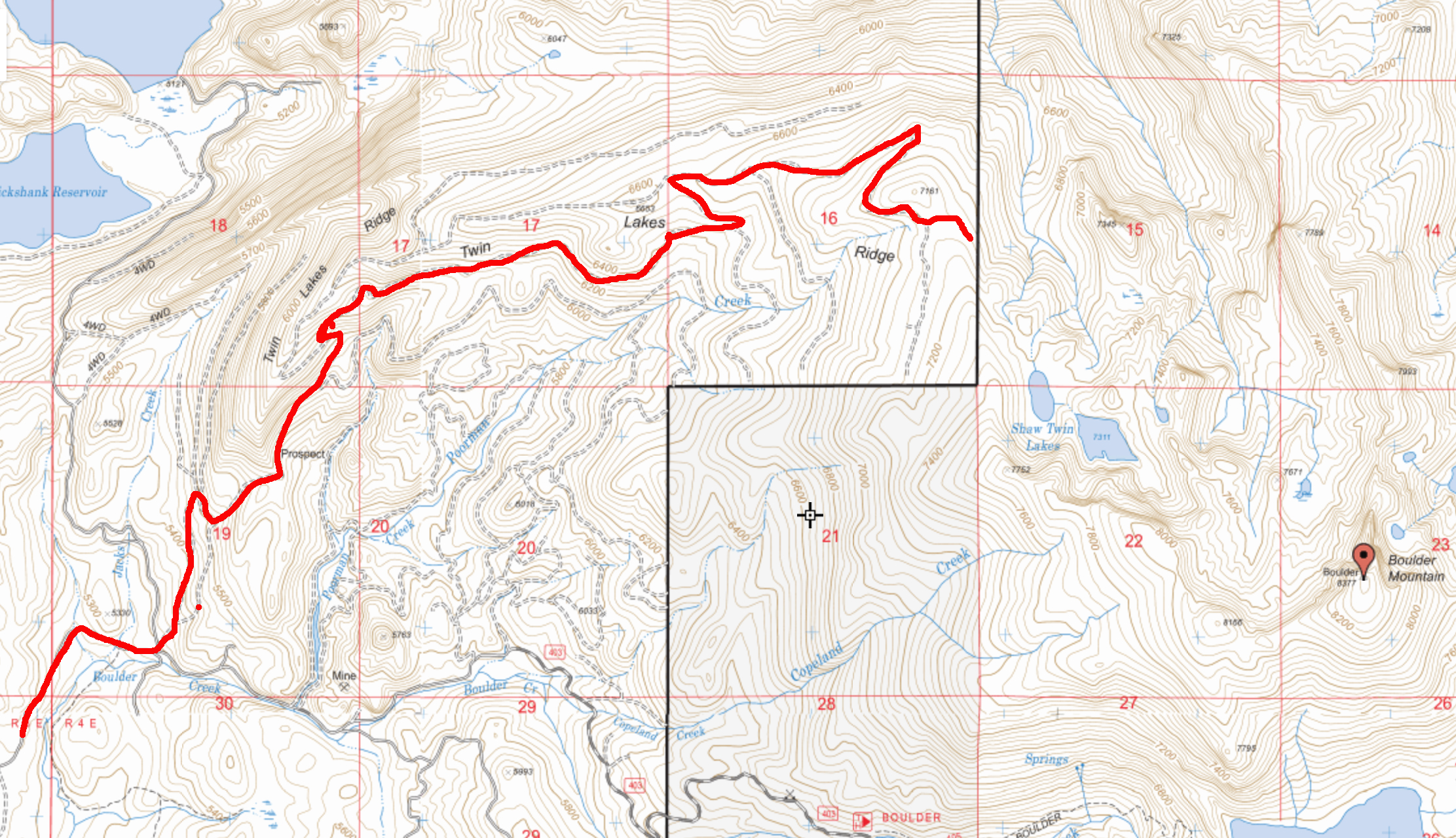 Our access route. This map shows the network of roads leading toward the northwest ridge.