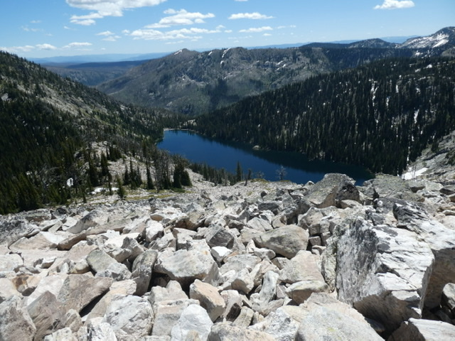 Crystal Lake viewed from the north ridge. Crystal Pass is center left.