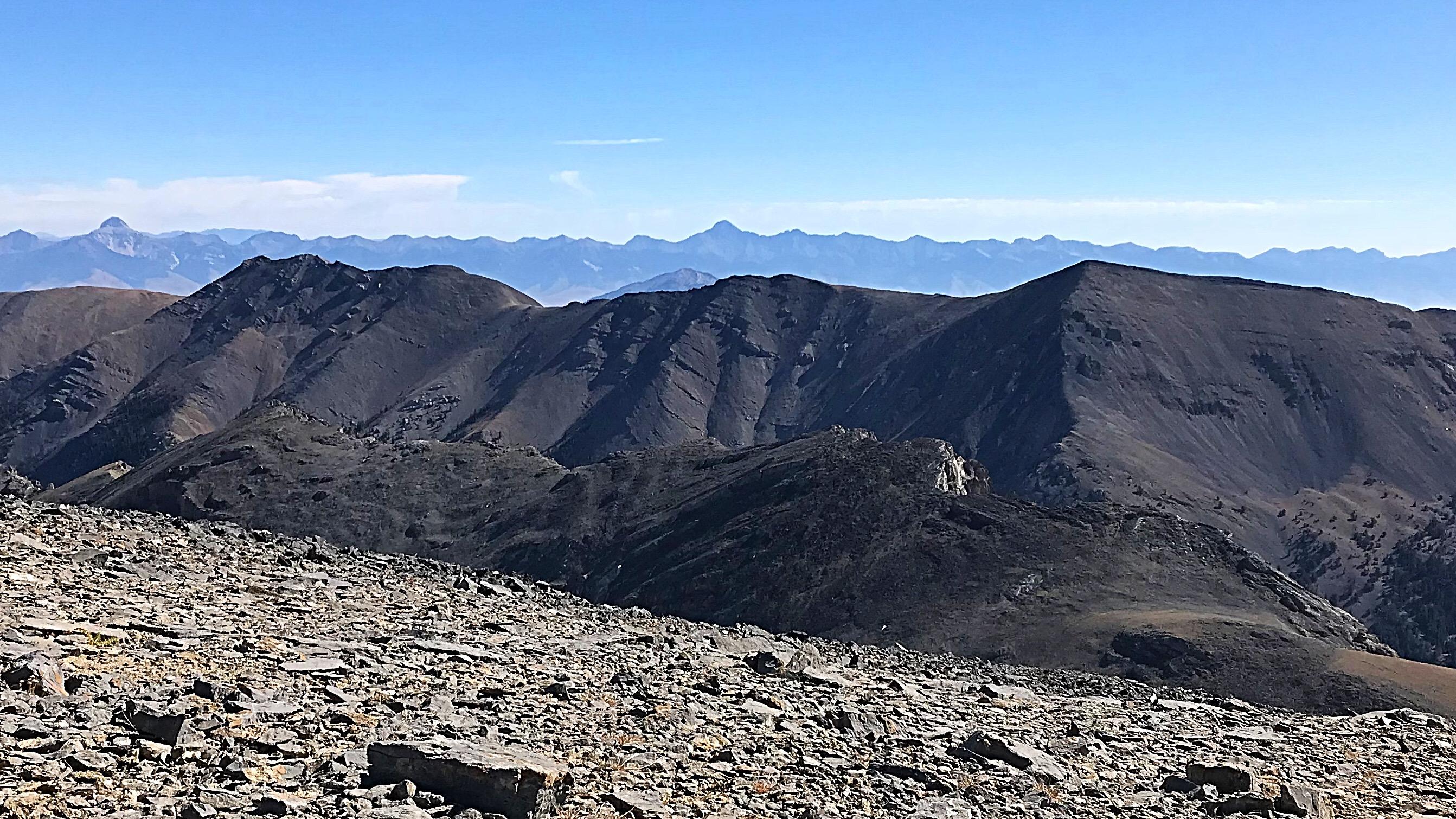 Massacre Mountain viewed from the southeast ridge of Ferguson Peak. North Massacre Mountain is on the left.