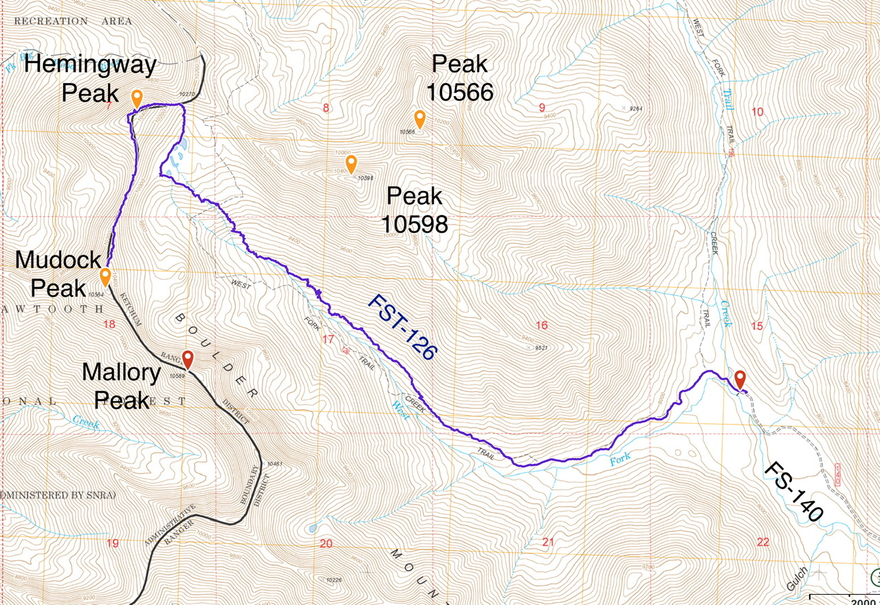 My GPS track to Hemingway and Murdock Peaks. It 9s 4.9 miles with 2,500 feet of elevation gain to the top of Hemingway Peak. It is another 0.5 miles with an additional 350 feet of elevation gain to the summit of Murdock Peak.