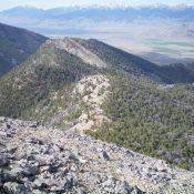 Peak 9634 (the rocky ridge line hump left of center) as viewed from the West Ridge of Peak 10681. Livingston Douglas Photo