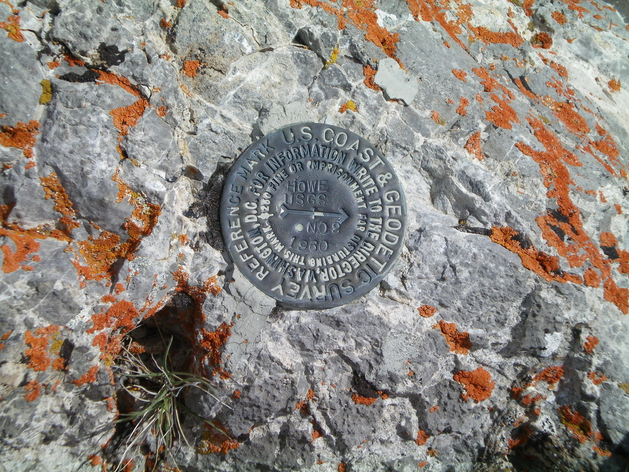The USGS Benchmark atop Howe Peak. Livingston Douglas Photo