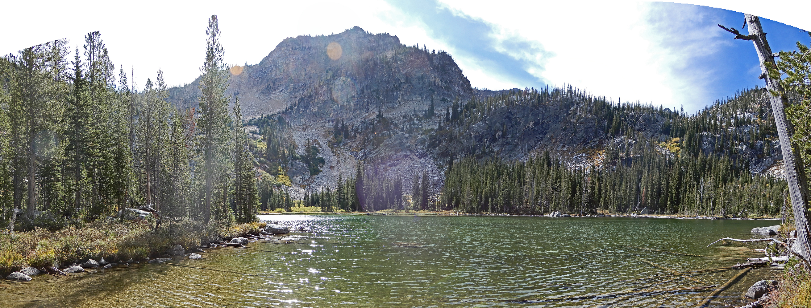 A panorama of one of the Prince Lakes, with McCabe Peak standing tall above it. John Platt Photo