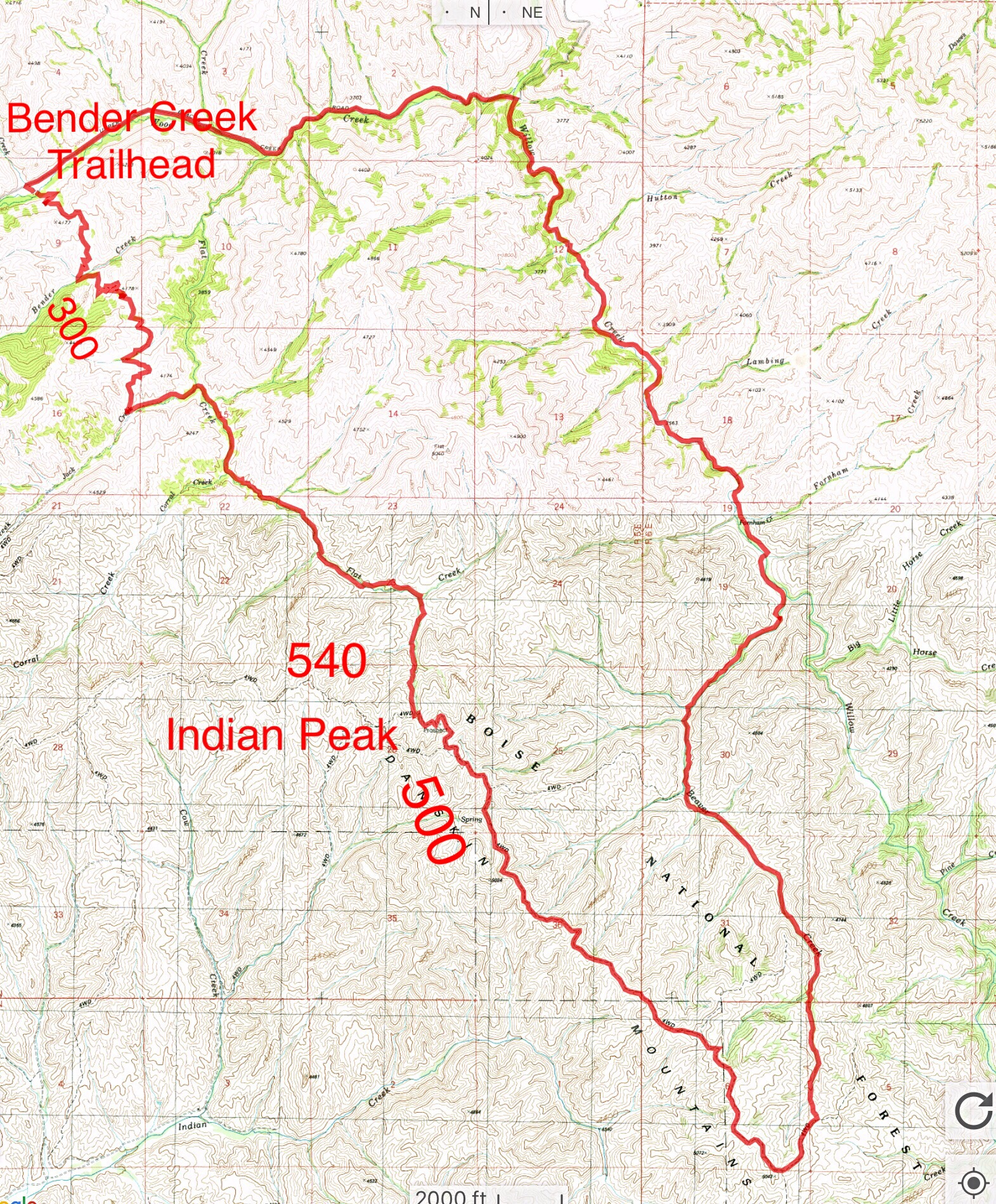 Trails for accessing Indian Peak.