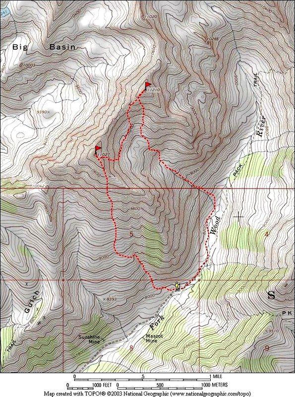 Dave Pahlas' GPS track for climbing the peak via the East Fork Wood River.