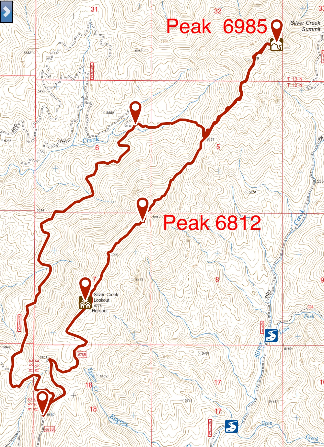 My GPS Track for Peaks 6812 and 6875.