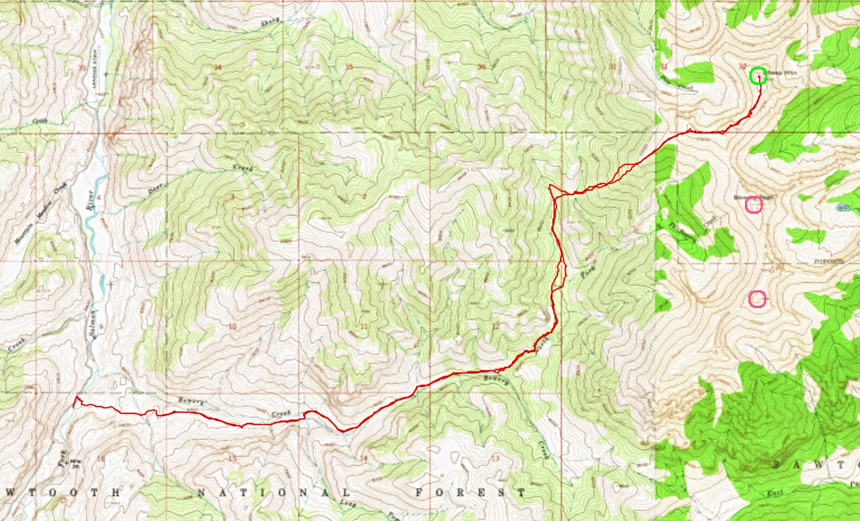 Ken Jones' GPS track starting at the Bowery Creek Trailhead. His route gained just under 5,000 feet.