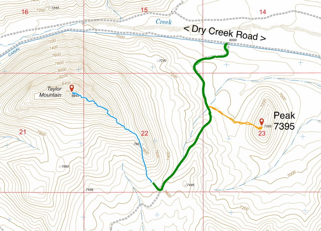 This map shows routes to Taylor Mountain and Peak 7395. The green line is the 4WD road.