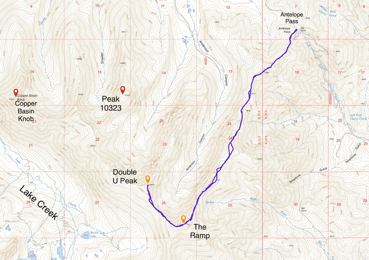 My GPS track for the Ramp and Double U. Round trip to Double U is 9.6 miles with 3,368 feet of elevation gain.