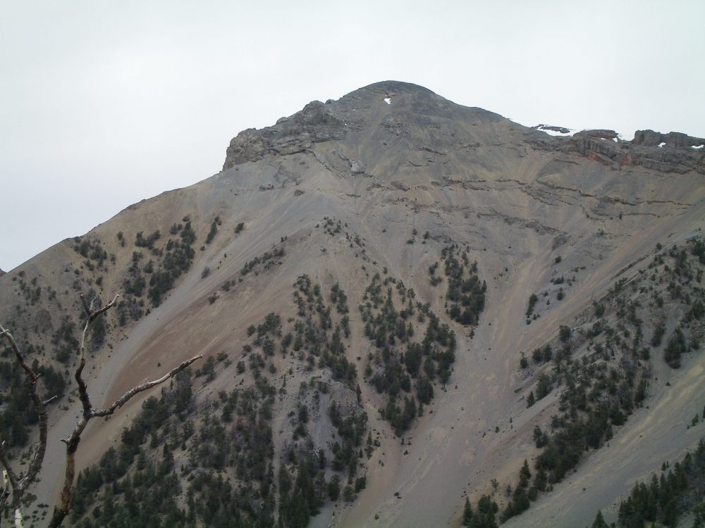 The Southeast Ridge of Peak 10604 (left skyline) and its difficult, rocky ridge obstruction. Livingston Douglas Photo