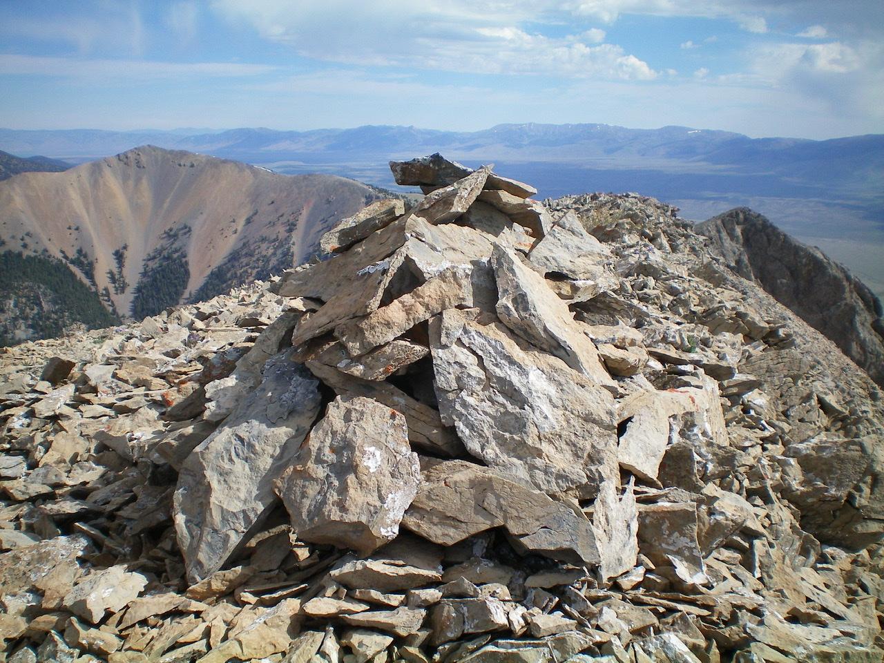 The newly-enhanced summit cairn atop The Knoll. Livingston Douglas Photo