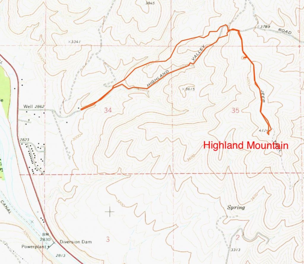 Paul Jurczak's GPS track for the West Highland Trail approach to the peak's north ridge. Paul's route is 5 miles round trip.