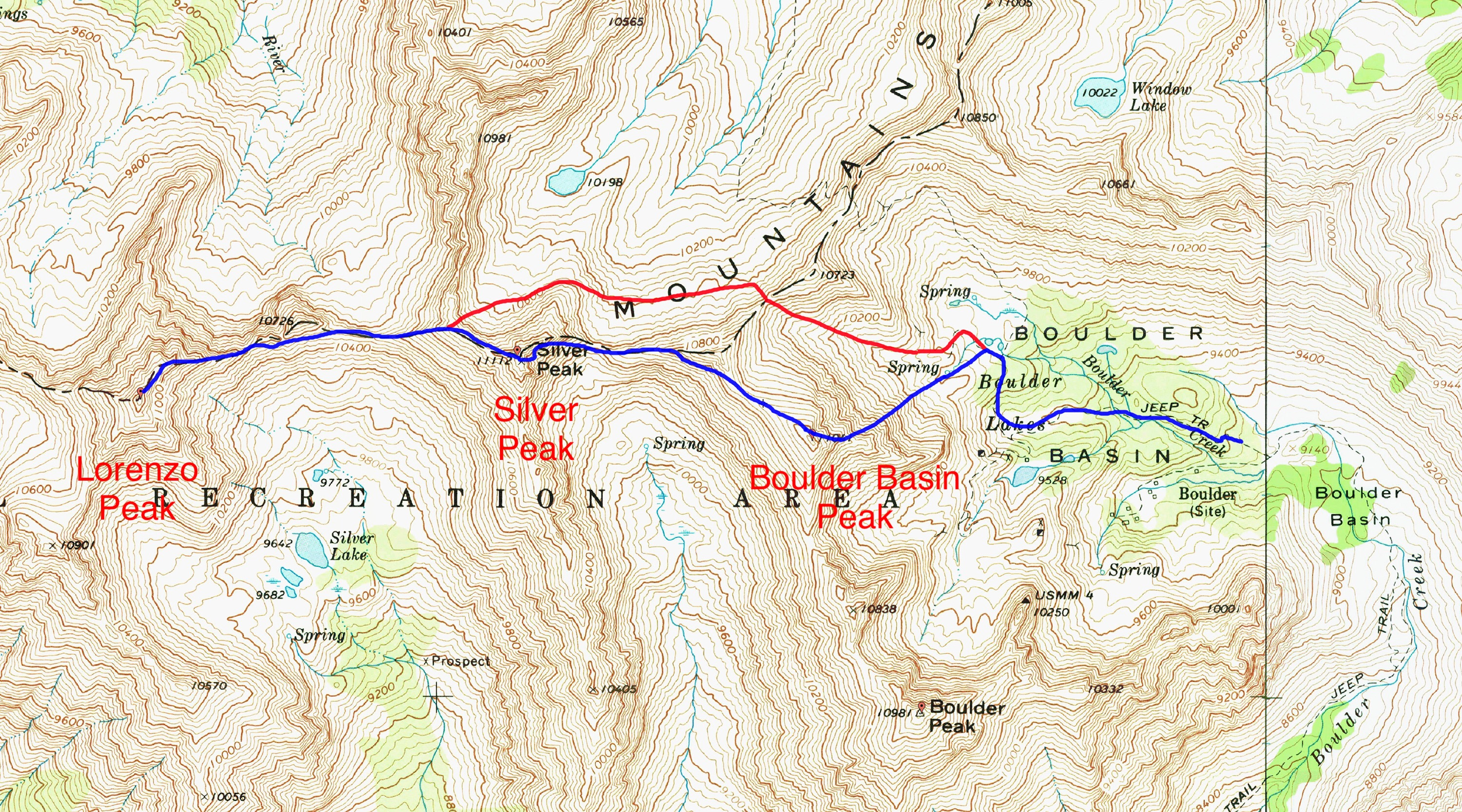 Derek's traverse route. The red line shows the bypass followed on the return.