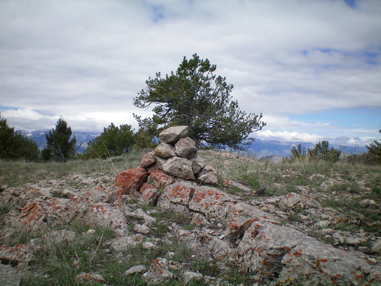 The newly-built summit cairn atop Peak 9300. Livingston Douglas Photo