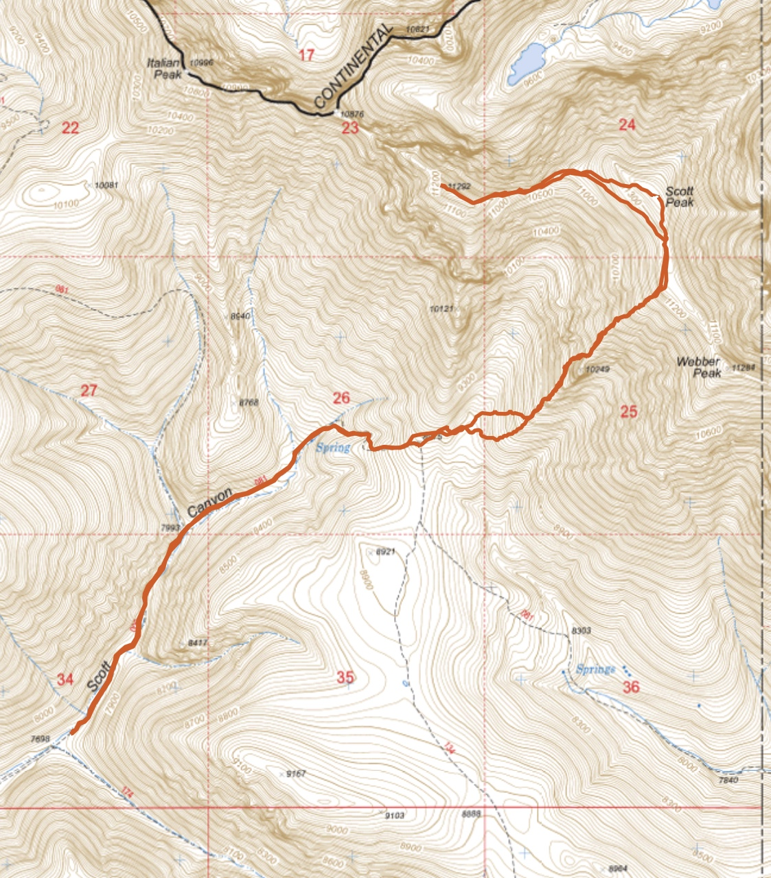 My GPS track for Scott Peak amd Huhs Horn. Round trip 8.8 miles with 4,315 of elevation gain.