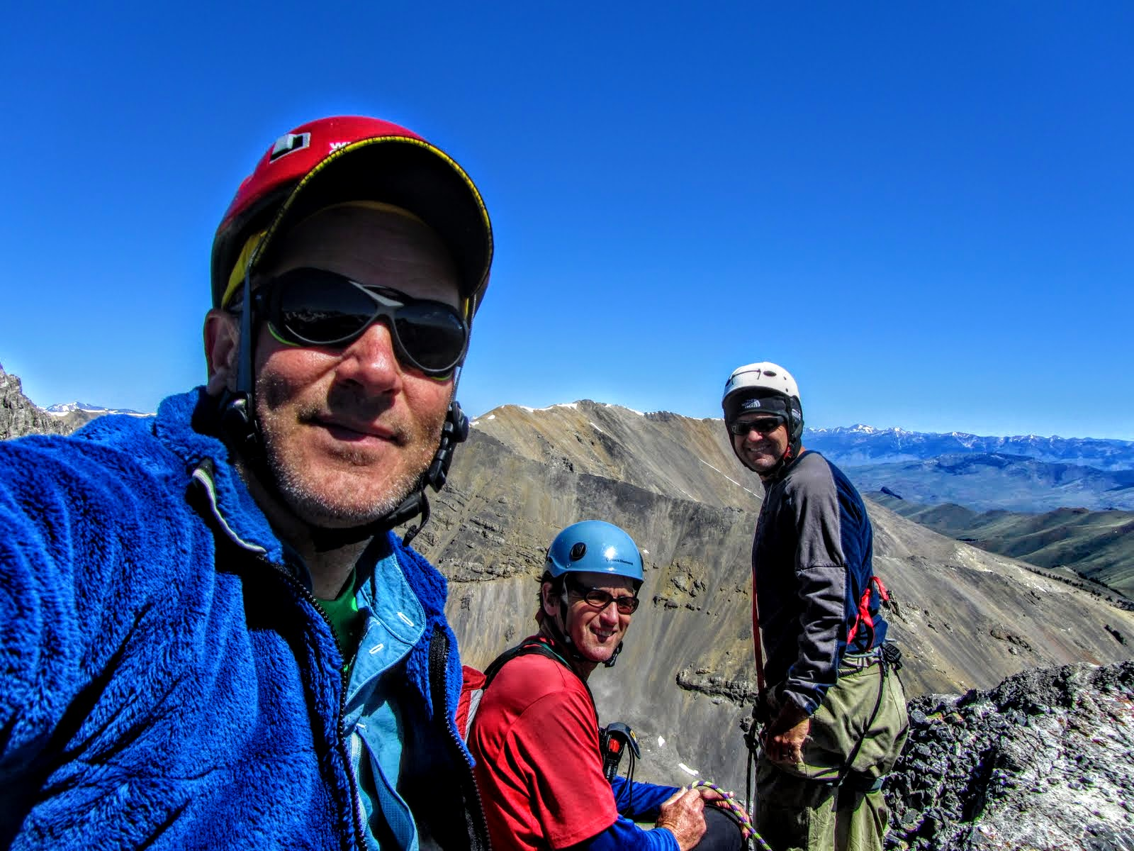 The first ascent team on the Summit, George Reinier, Johnny Roache and Pat McGrane. George Reinier Photo