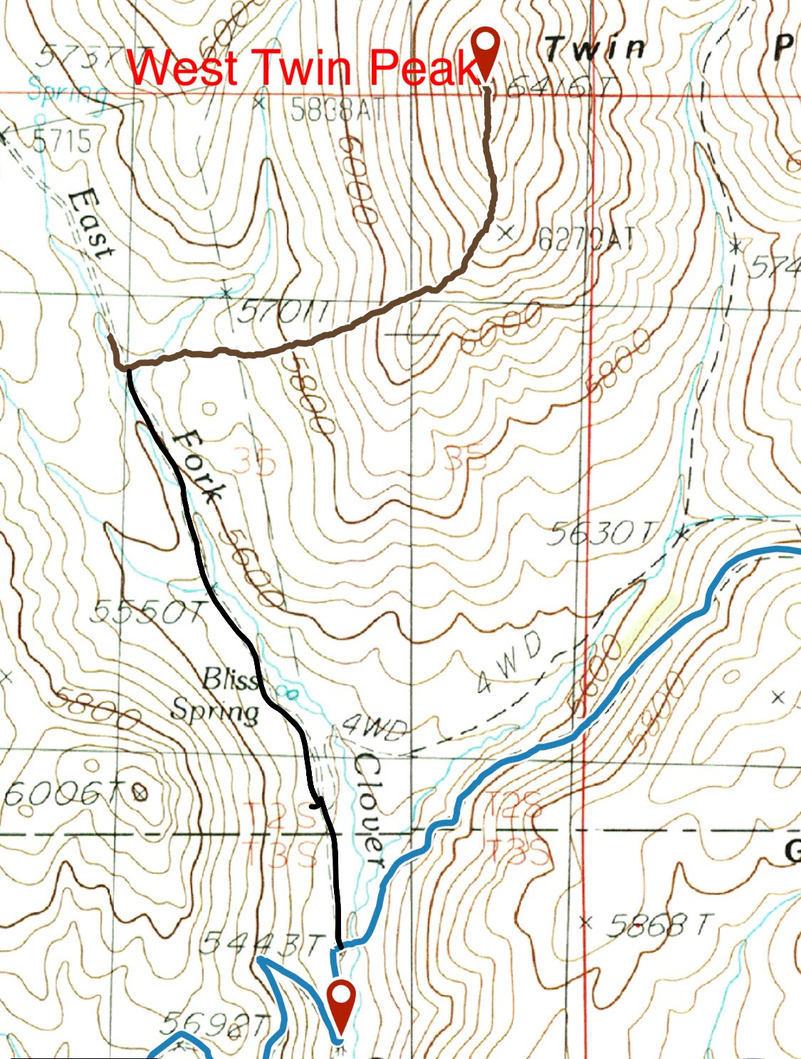 The Davis Mountain Road is in blue. The heavy black line is the road up the East Fork. The brown line is my GPS track to the summit.