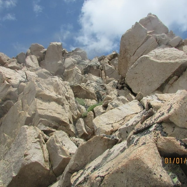 Ridge route on Peak 10375 is this chimney. Brett Sergenian Photo