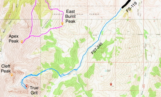 The approach. Several GPS recordings on my visit to the summit showed the round trip distance varying between 12 and 14 miles. All the GPS recordings had the elevation gain as 3,400 feet.