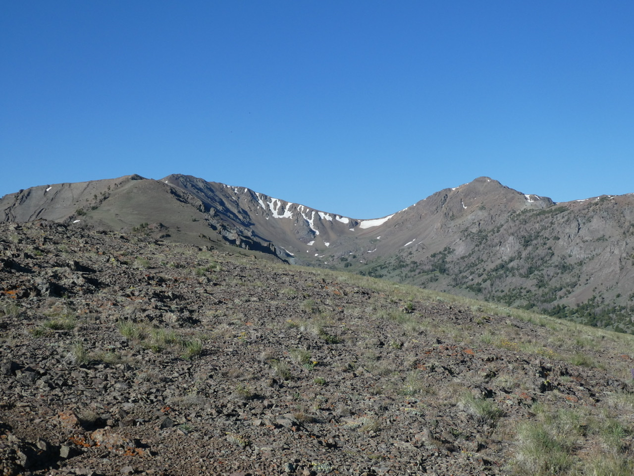 The Ramp on the right and Double U Peak on the left viewed from the Northeast Ridge.