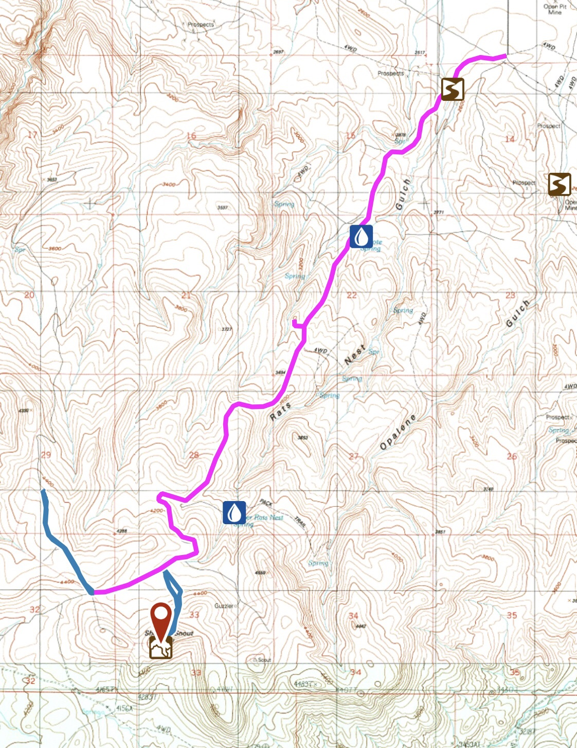 My GPS track for the Coyote Grade Road to the north slopes of Shares Snout. The main road continues southwest from this point toward Buck Mountain and then due south toward Dryden Peak.