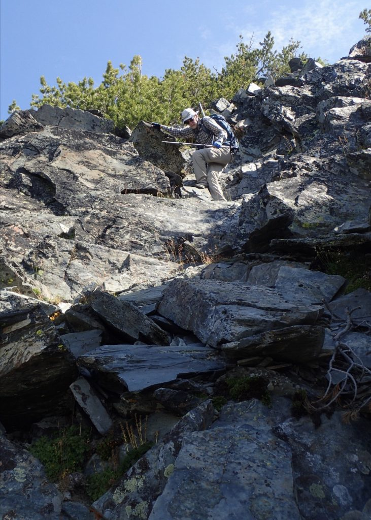 The ledges in the broad chimney at the base of the summit ridge (picture taken on descent) that marks the start of scrambling. Judi Steciak Photo