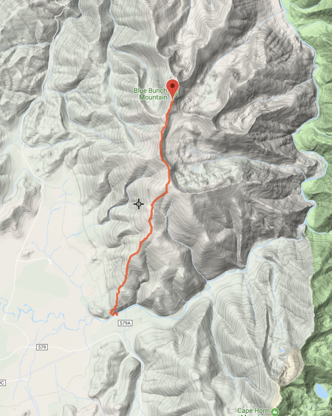 Ken Jone's GPS track mared 4.4 miles with 2,514 feet of elevation gain.