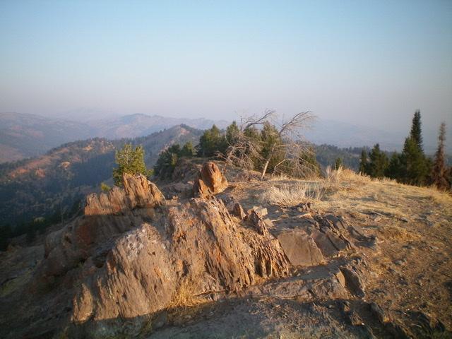 The rocky summit of Peak 7620 North, looking northwest. Livingston Douglas Photo