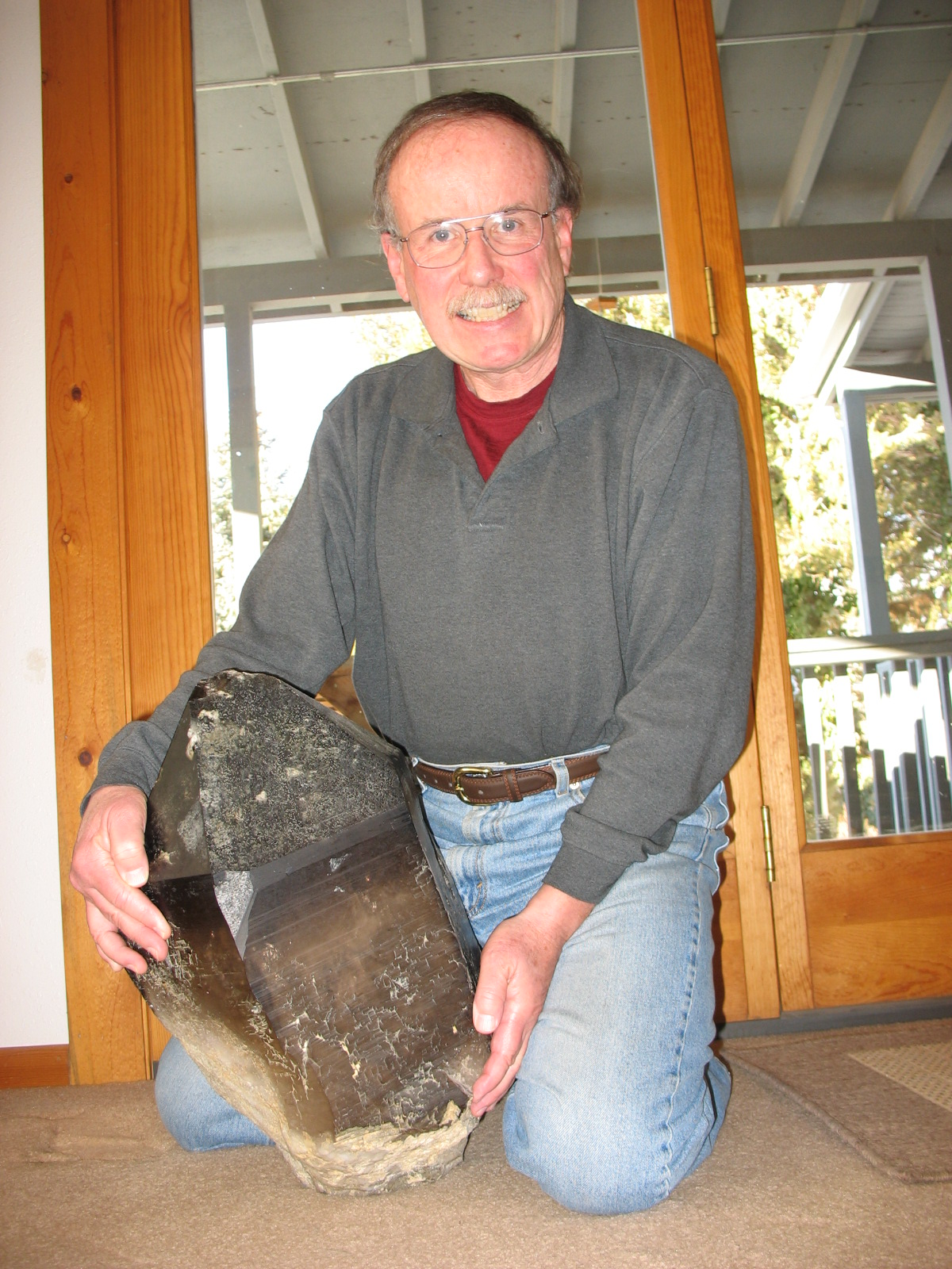 "Ray today, with ""small crystal"" he saved in 1975."
