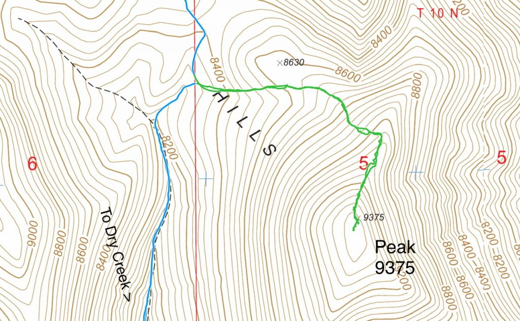 My GPS track in green. This route covers 2.0 miles with 900 feet of gain round trip.